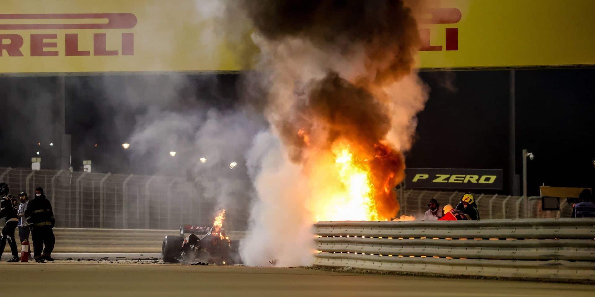 Motorsports: FIA Formula One World Championship, WM, Weltmeisterschaft 2020, Grand Prix of Bahrain, A fire is pictured