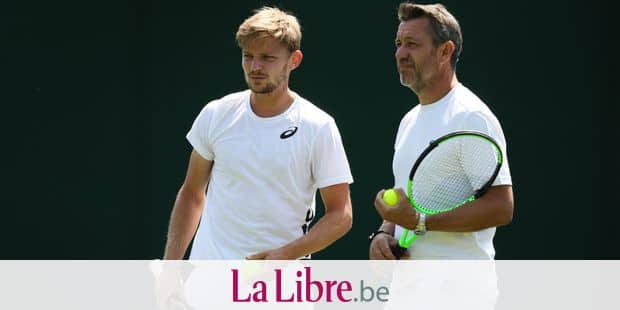 Belgian David Goffin and his coach Thierry Van Cleemput pictured during a training session ahead of the 2018 Wimbledon grand slam tennis tournament at the All England Tennis Club, in south-west London, Britain, Thursday 28 June 2018. The main tables at the Wimbledon tournament will start on 2 July. BELGA PHOTO VIRGINIE LEFOUR