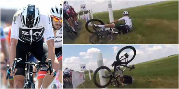 Chris Froome l'a échappé belle dans une chute qui aurait pu lui coûter bien plus qu'une minute (VIDEO) - La Libre