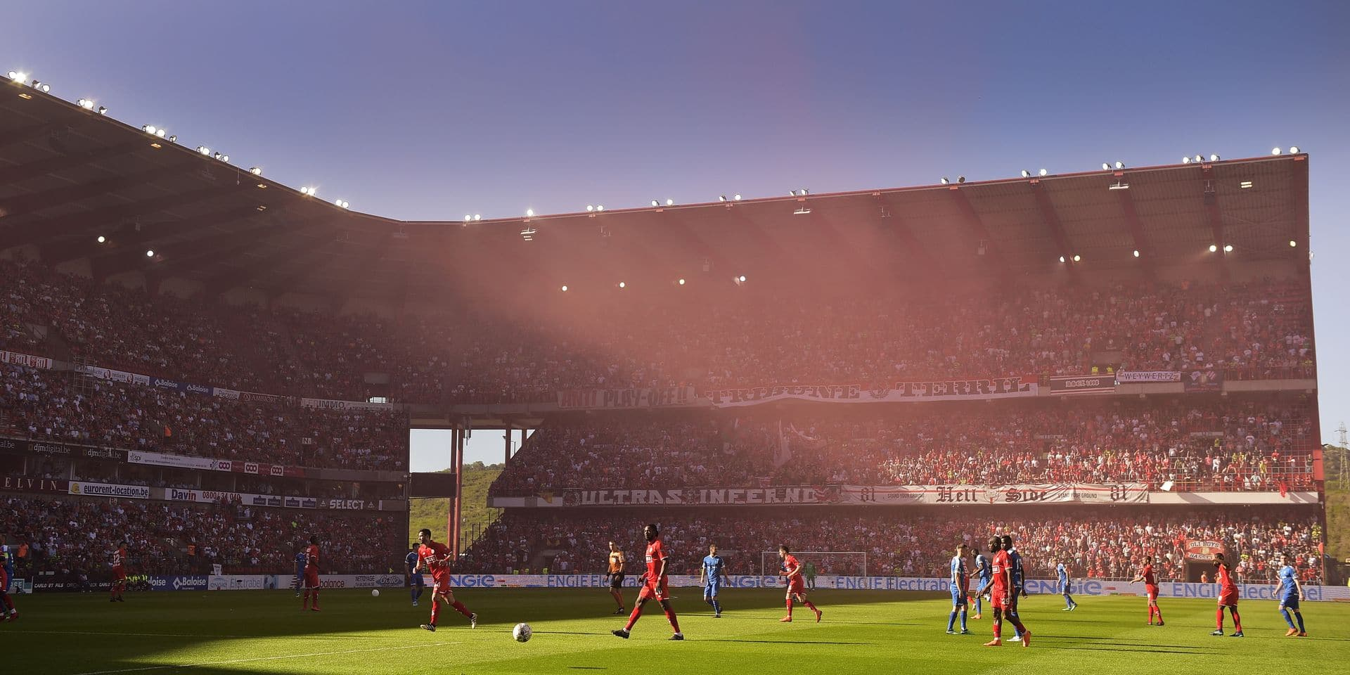 Illustration picture shows the Sclessin stadium at the start of the Jupiler Pro League match between Standard de Liege and KRC Genk, in Liege, Sunday 06 May 2018, on day seven of the Play-Off 1 of the Belgian soccer championship. BELGA PHOTO YORICK JANSENS