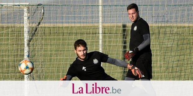 MURCIA, SPAIN - JANUARY 9 : Thomas Didillon goalkeeper of Anderlecht, Frank Boeckx goalkeeper of Anderlecht pictured during a training session in San Pedro del Pinatar at the midseason training winter stage camp on January 09, 2019 in Murcia, Spain, 9/01/2019 ( Photo by Vincent Kalut / Photonews