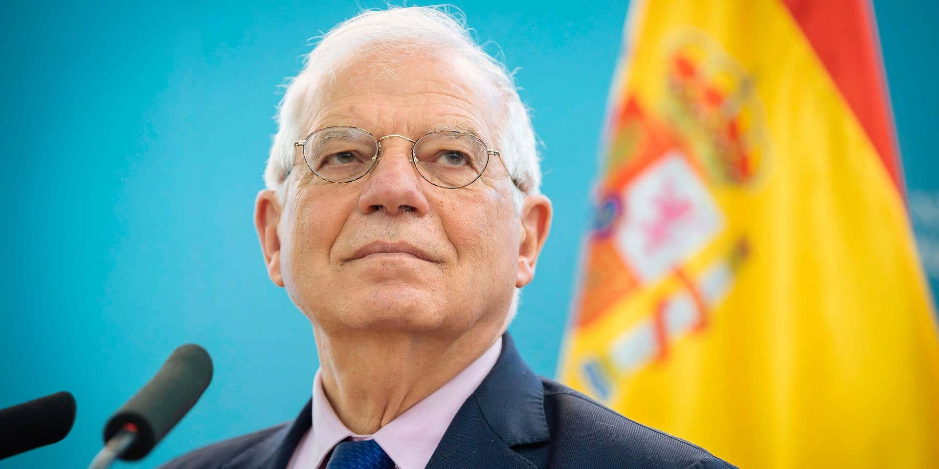 (FILES) In this file photo taken on April 9, 2019 Spain's Foreign Minister Josep Borrell attends a press conference after meeting with his Slovenian counterpart in Ljubljana. - Josep Borrell was appointed head of the European diplomacy on July 2, 2019. (Photo by Jure Makovec / AFP)
