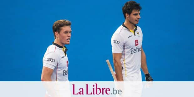 Belgium's Tom Boon and Belgium's Alexander Hendrickx pictured during a game of Belgian national hockey team the Red Lions and England in the Kalinga Stadium in Bhubaneswar, India, at the hockey World Cup, Monday 26 November 2018. BELGA PHOTO DANIEL TECHY