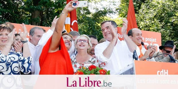 cdH chairman Benoit Lutgen (R) pictured during the yearly family day of french-speaking christian democratic party cdH, Sunday 02 September 2018 in Namur. BELGA PHOTO BRUNO FAHY