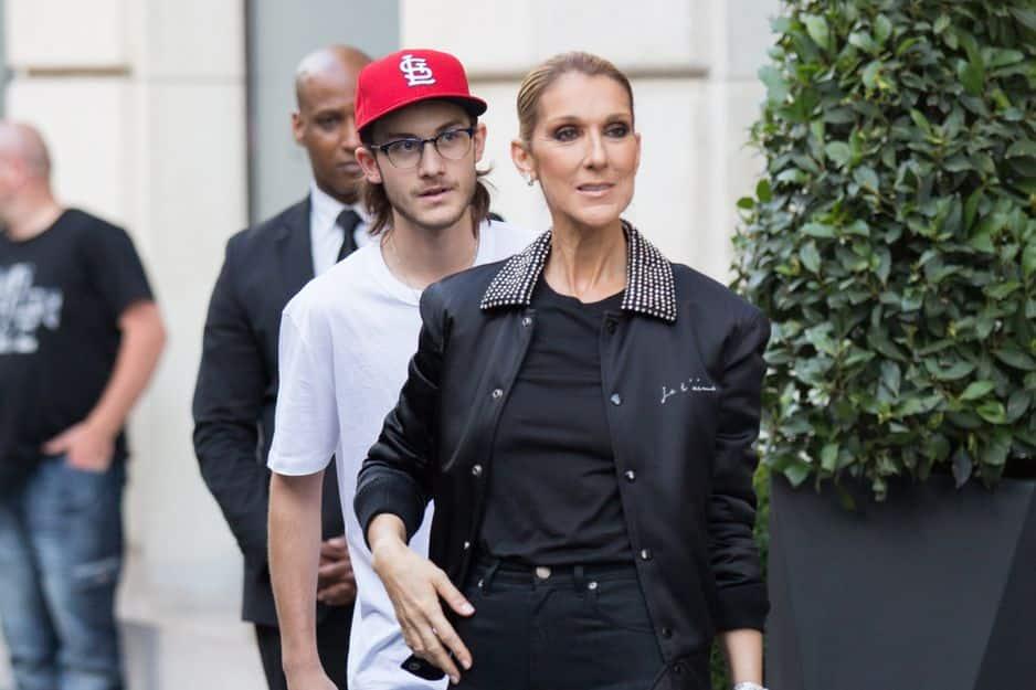 Céline Dion avec son fils aîné, René Charles, à Paris en juillet 2017