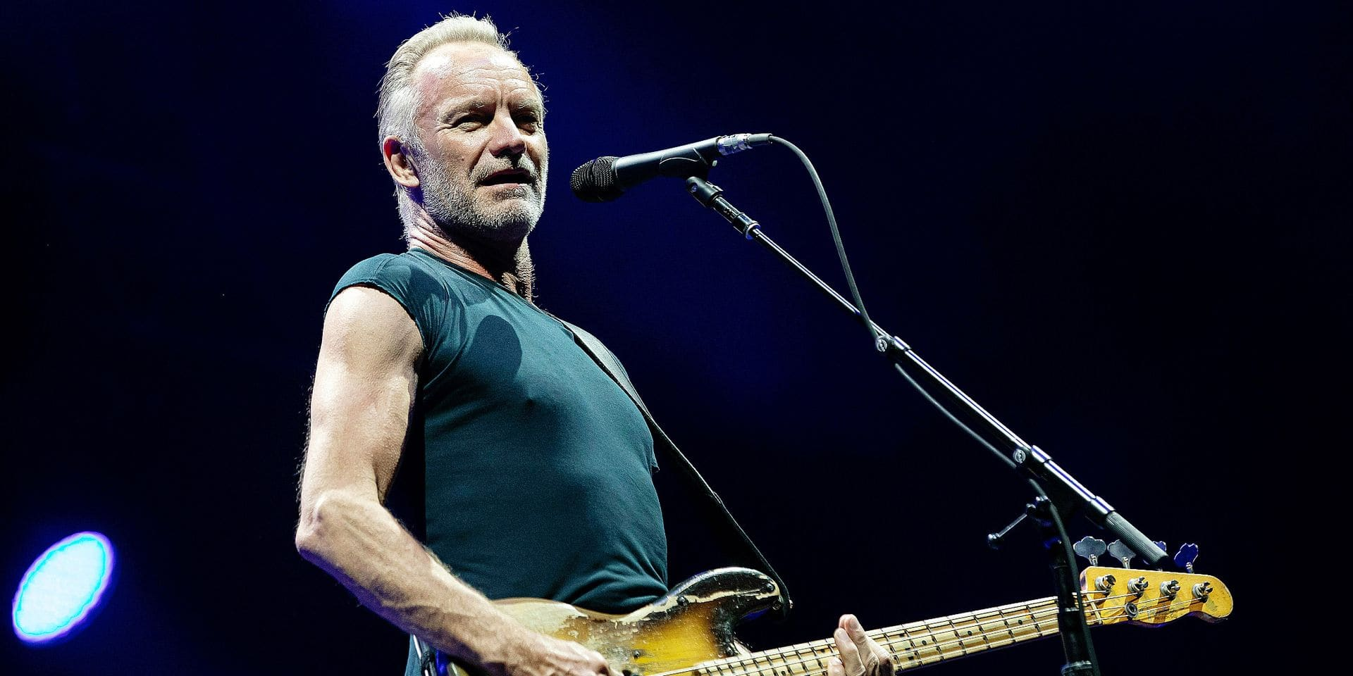 British musician Sting performs during his concert in Papp Laszlo Budapest Sports Arena in Budapest, Hungary, Tuesday July 2, 2019. (Balazs Mohai/MTI via AP)