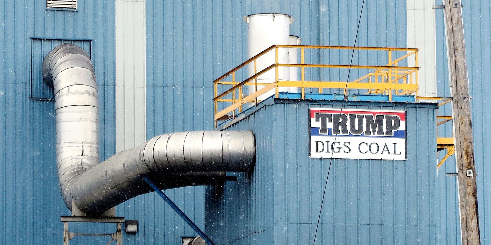 "A sign with the words ""Trump digs coal"" can be seen on a factory building in a coal mining area in Hazleton, Pennsylvania, US. The city has many citizens of Latin American descent. It sits within a district where resident overwhelmingly voted for the Republican Donald Trump. Photo: Maren Hennemuth/dpa"