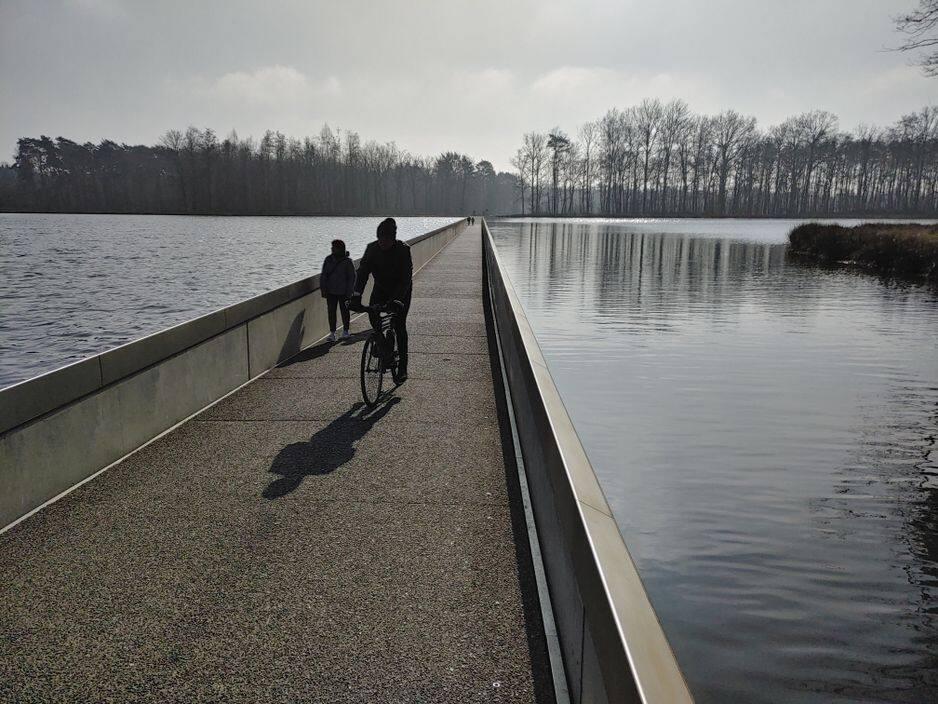 Dans les étangs de la réserve de Wijers à Bokrjik, une piste cyclable traverse un étang.