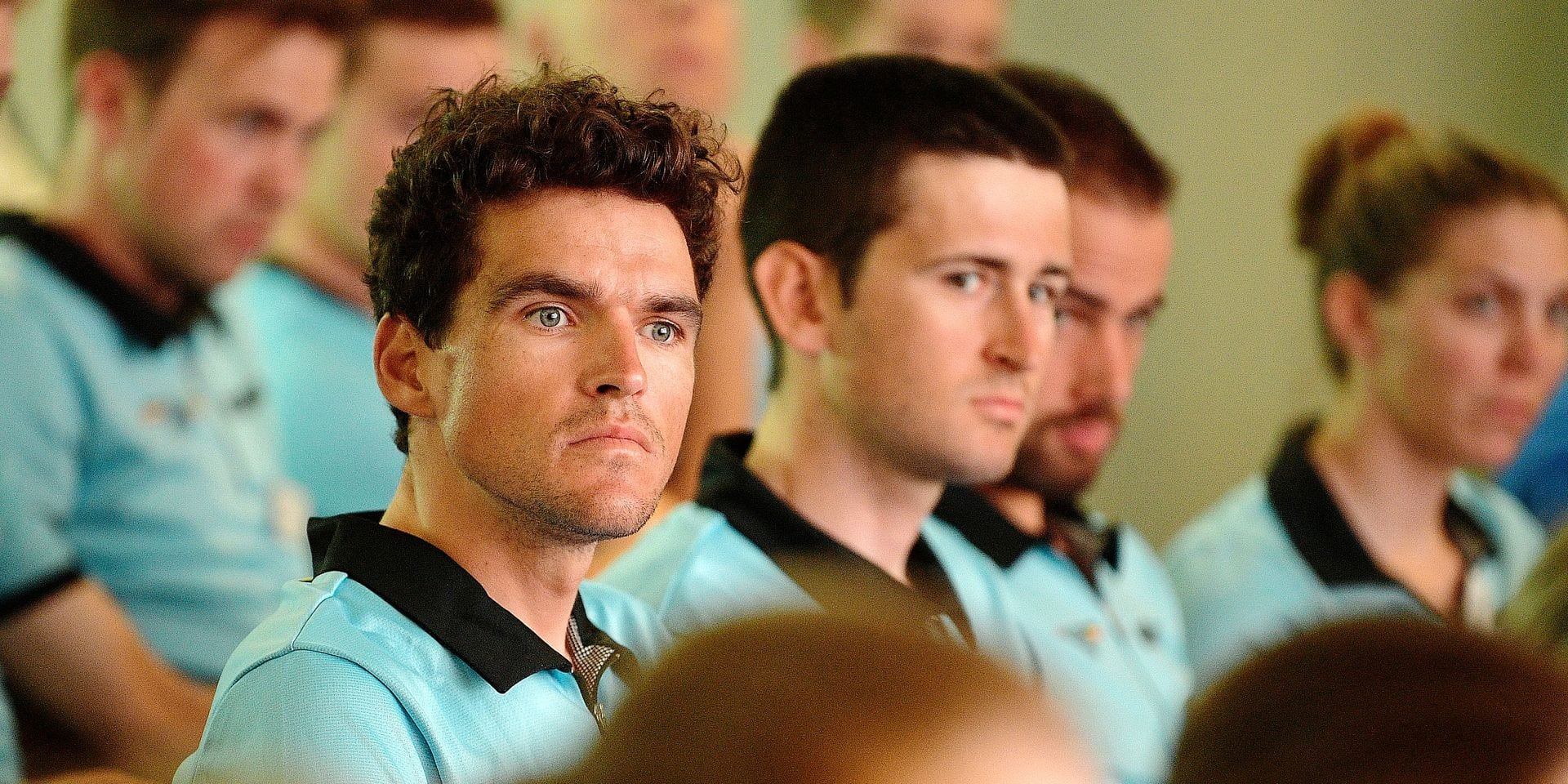 Belgium gold medal winner, olympic champion, Greg Van Avermaet, Belgian Tiesj Benoot and Belgian Victor Campenaerts pictured during a special event in Diegem part of the preparations for the next olympic games, Monday 24 June 2019. BELGA PHOTO YORICK JANSENS