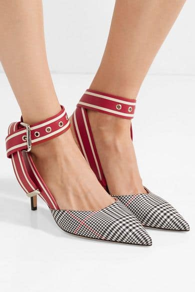 Monse. Leather and Prince of Wales checked twill pumps.               804,53 euros.