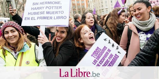 Thousands participate in a protest on the occasion of the International Women's Day in Madrid, Spain, March 8, 2018. Photo by Borja B.Hojas/AlterPhotos/ABACAPRESS.COM Reporters / Abaca