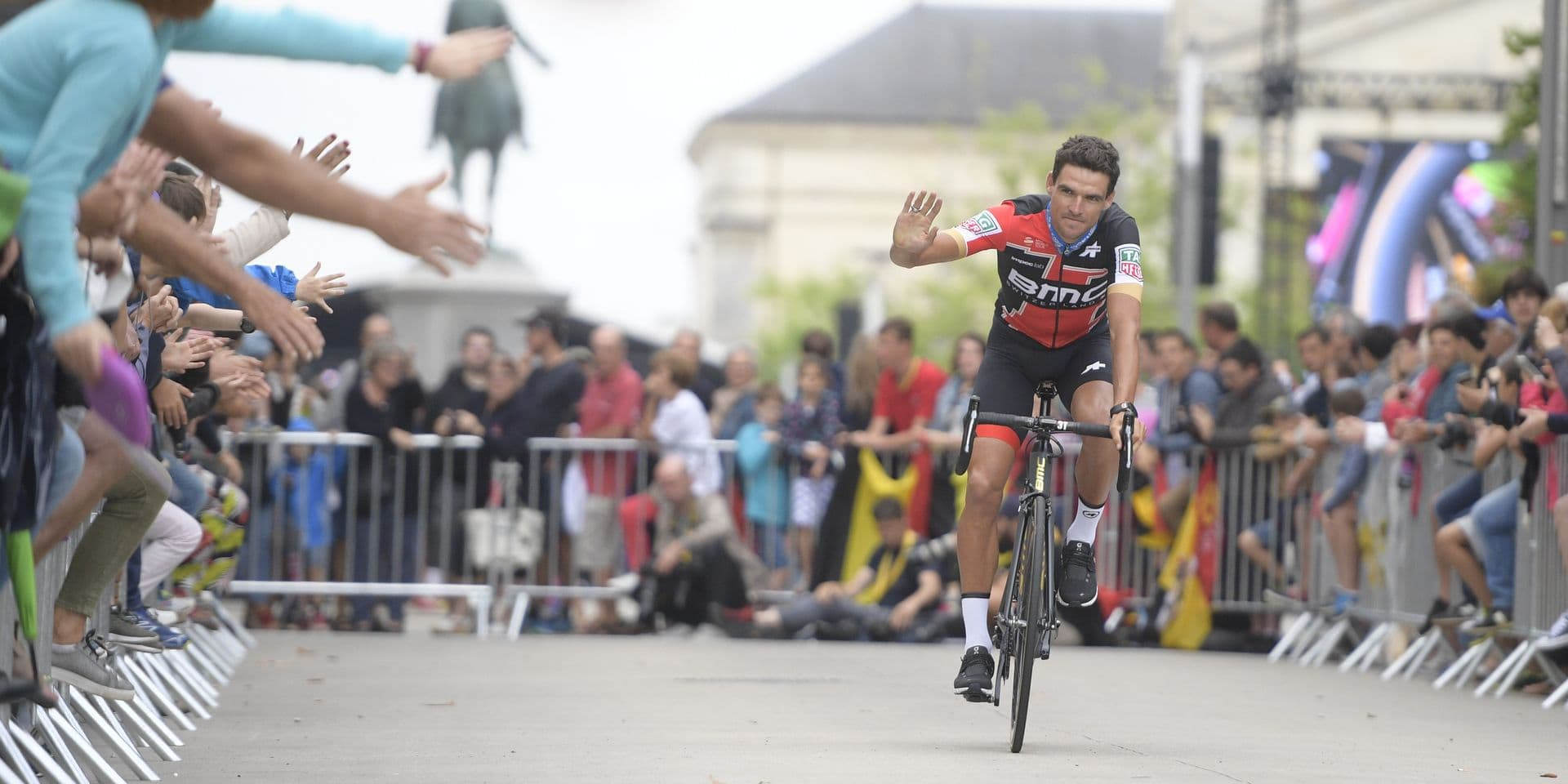 Belgian Greg Van Avermaet of BMC Racing Team pictured during the team presentation of the 105th edition of the Tour de France cycling race, in La-Roche-sur-Yon, France, Thursday 05 July 2018. This year's Tour de France takes place from July 7th to July 29th. BELGA PHOTO YORICK JANSENS