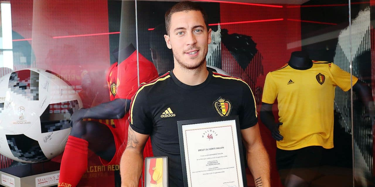 Belgium's Eden Hazard poses for the photographer after a meeting to present the award for 'Merite de Wallonie' to Belgian player Hazard of Belgian national team the Red Devils in Tubize, Thursday 11 October 2018. Belgium plays their second game in the Nations League against Switzerland on Friday. BELGA PHOTO VIRGINIE LEFOUR
