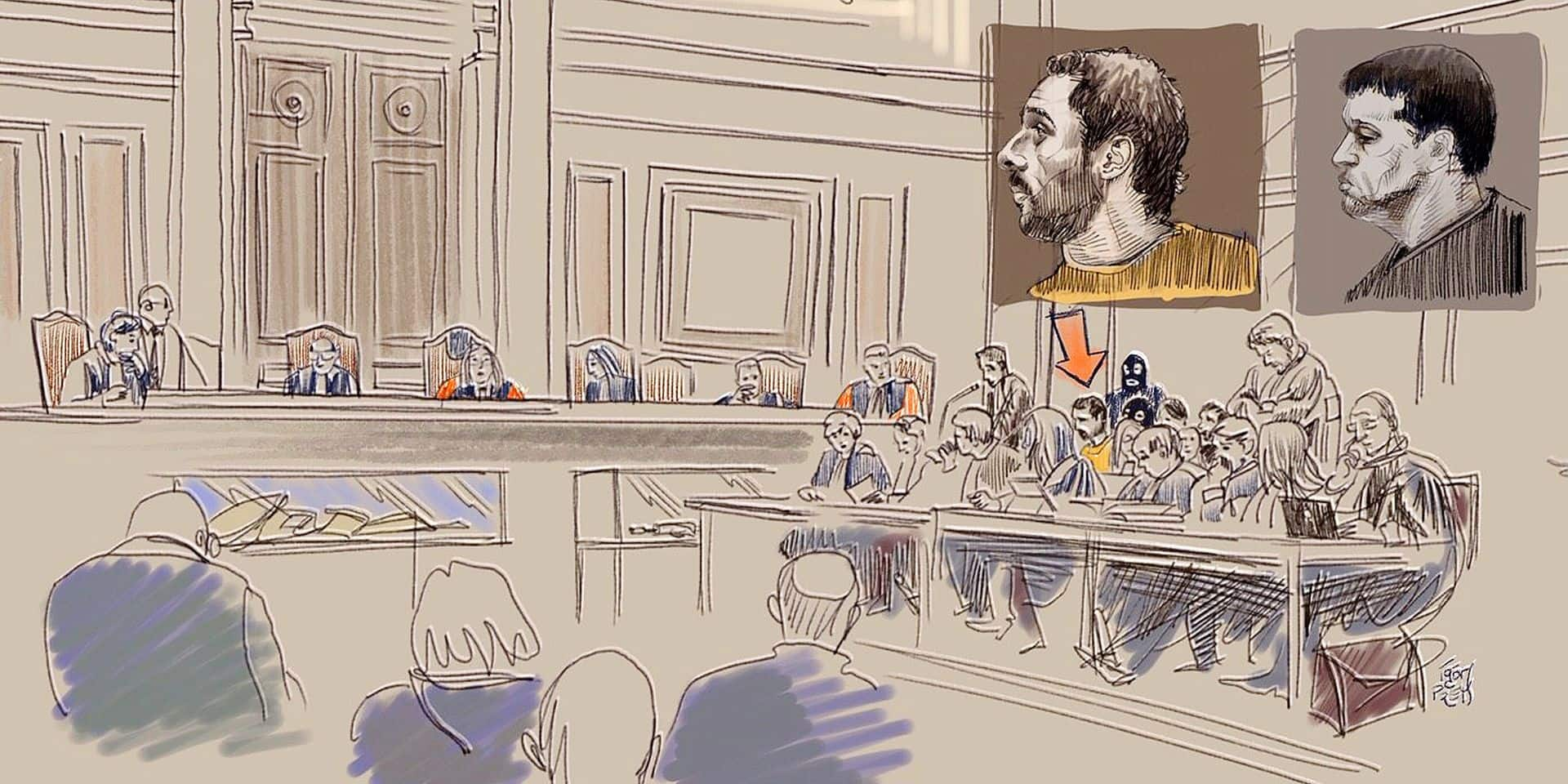 This drawing by Igor Preys shows a session in the trial regarding the terrorist attack at the Jewish Museum in Brussels, at the Brussels Justice Palace, in Brussels, Thursday 10 January 2019. Nemmouche and Bendrer are accused of committing a terrorist attack on 24 May 2014 at the Brussels Jewish Museum, killing four people. BELGA PHOTO IGOR PREYS