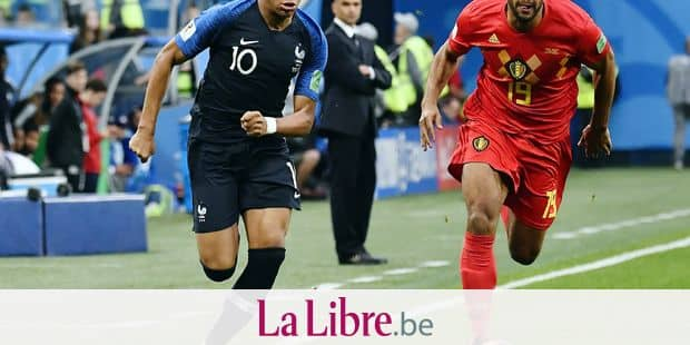 France's Kylian Mbappe and Belgium's Mousa Dembele fight for the ball during the semi final match between the French national soccer team 'Les Bleus' and Belgian national soccer team the Red Devils, in Saint-Petersburg, Russia, Tuesday 10 July 2018. BELGA PHOTO DIRK WAEM