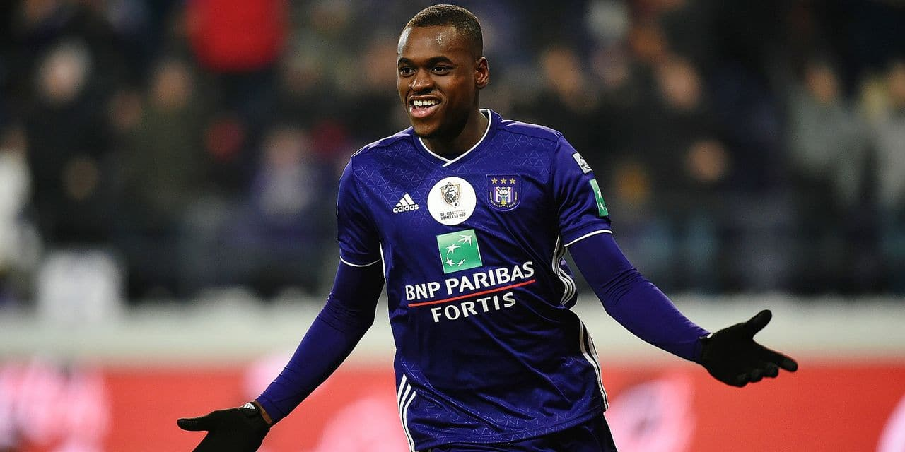 Anderlecht's Landry Dimata celebrates after scoring during the soccer match between RSC Anderlecht and Waasland-Beveren, Thursday 27 December 2018 in Brussels, on the 21st day of the 'Jupiler Pro League' Belgian soccer championship season 2018-2019. BELGA PHOTO JOHN THYS