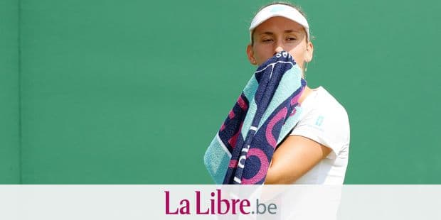 Belgian Elise Mertens reacts during a tennis match between Czech Republic Barbora Strycova (WTA 54) and Belgian Elise Mertens (WTA 21) in the fourth round of the women's singles at the 2019 Wimbledon grand slam tennis tournament at the All England Tennis Club, in south-west London, Britain, Monday 08 July 2019. BELGA PHOTO BENOIT DOPPAGNE
