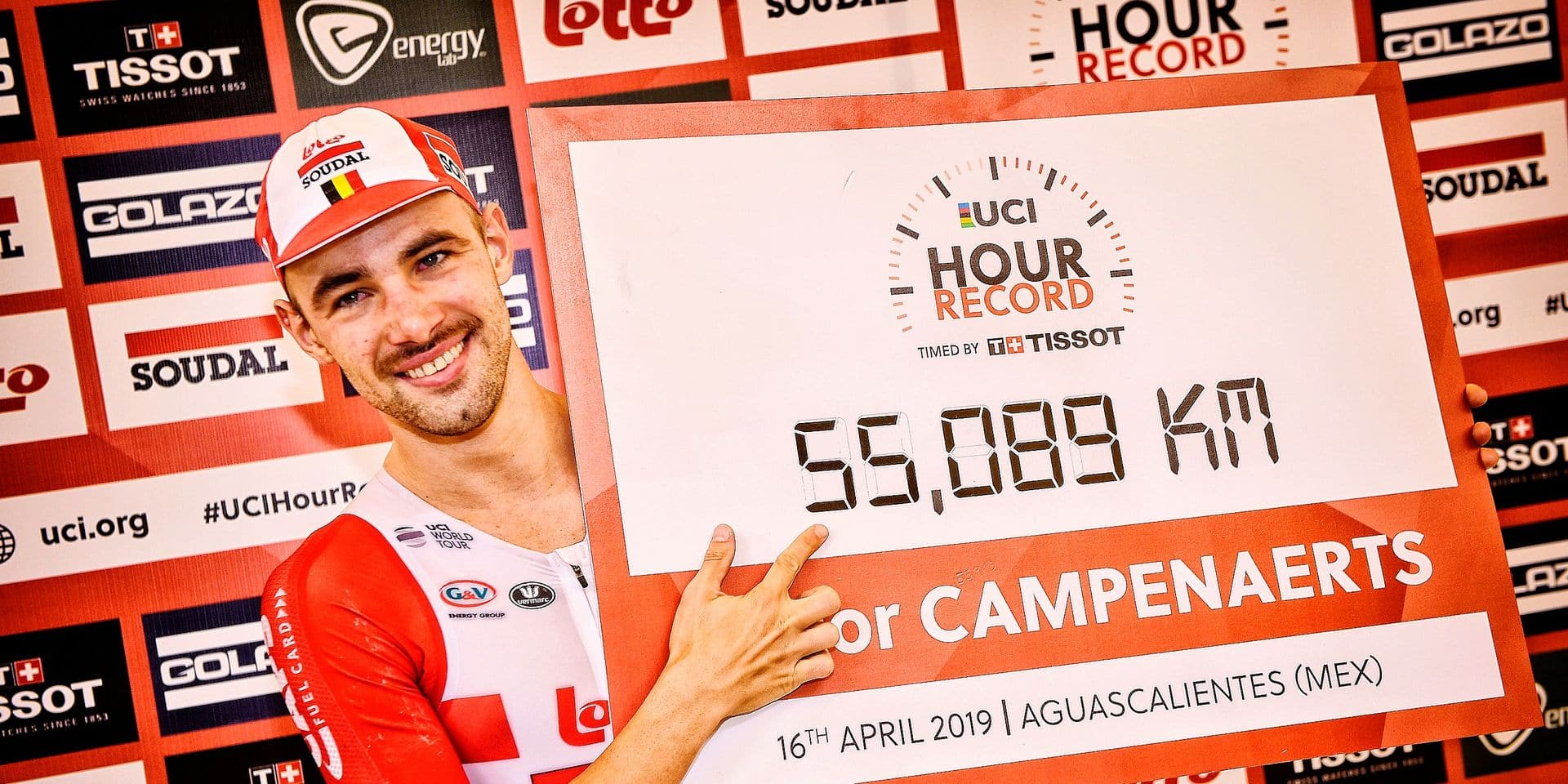 Belgian Victor Campenaerts of Lotto Soudal celebrates after succeeding in his attempt to beat the UCI World Hour Record cycling at the Velodromo Bicentenario in Aguascalientes, Mexico, Tuesday 16 April 2019. YORICK JANSENS
