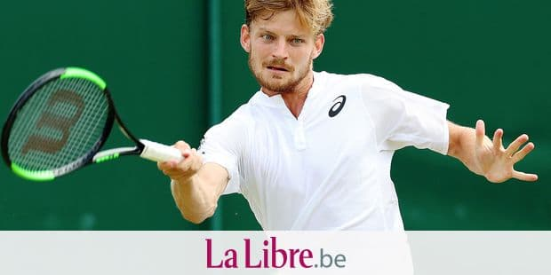 Belgian David Goffin pictured in action during a tennis match between Belgian David Goffin (ATP23) and Spanish Fernando Verdasco (ATP37) in the men's singles fourth round at the 2019 Wimbledon grand slam tennis tournament at the All England Tennis Club, in south-west London, Britain, Monday 08 July 2019. BELGA PHOTO BENOIT DOPPAGNE