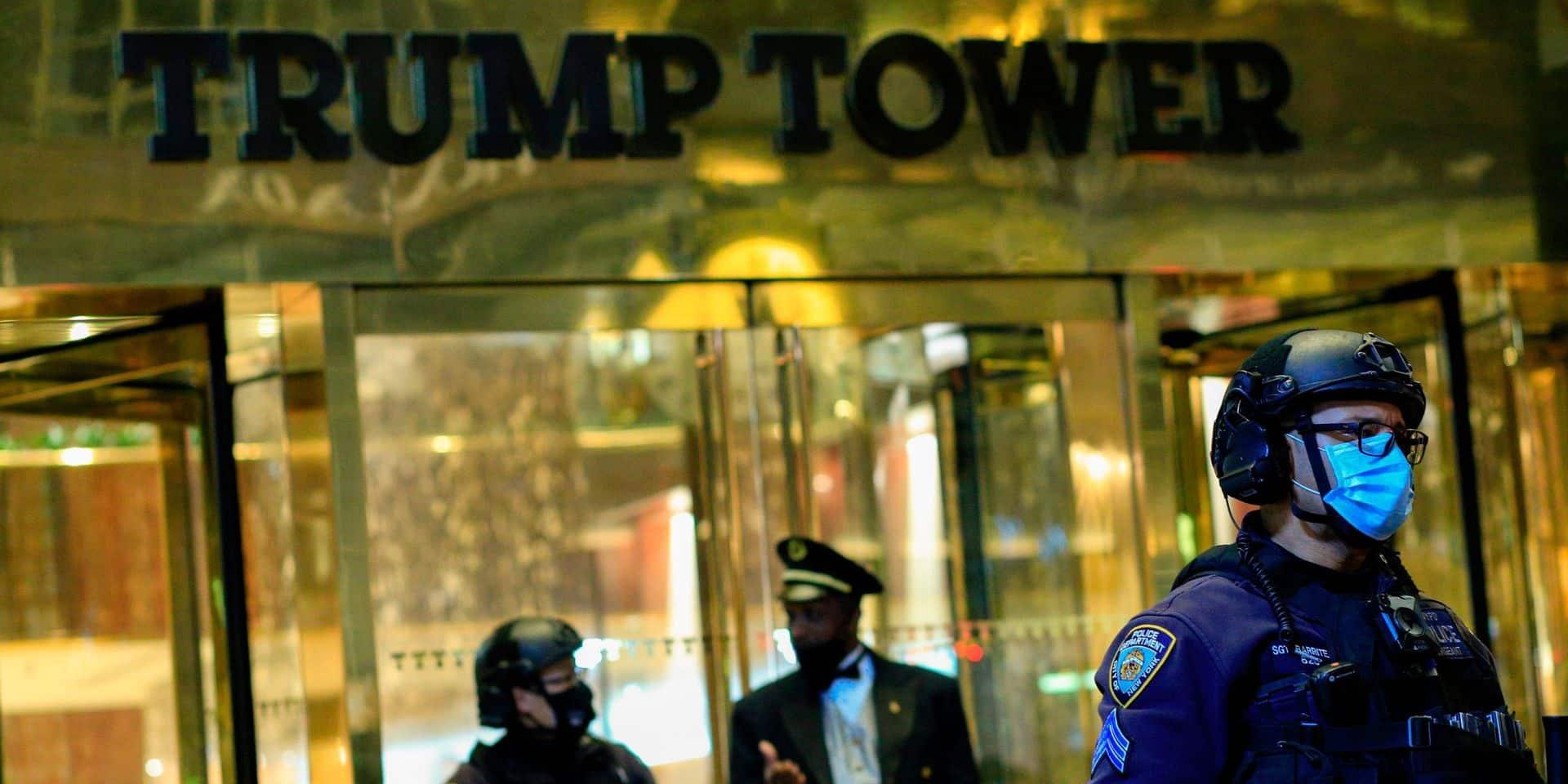 Forte présence policière aux abords de la Trump Tower à New York en vue d'éventuels débordements