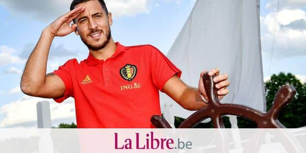 Belgium's team captain Eden Hazard poses at the rudder of a ship after an informal press contact with some players of Belgian national soccer team the Red Devils in at the Moscow Country Club players hotel, near Moscow, Russia, Wednesday 20 June 2018. The team is preparing for their second game at the FIFA World Cup 2018 next Saturday. BELGA PHOTO DIRK WAEM