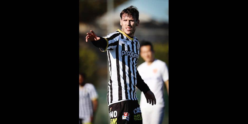 Charleroi's new player Romain Grange celebrates after scoring during a friendly match on the sixth day of the winter training camp of Belgian first division soccer team Royal Charleroi Sporting Club, in San Pedro del Pinatar, Murcia, Spain, Friday 12 January 2018. BELGA PHOTO VIRGINIE LEFOUR