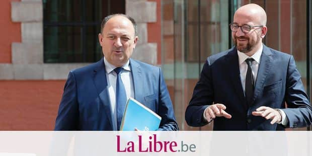 Walloon Minister President Willy Borsus and Belgian Prime Minister Charles Michel pictured after negotiations to form a new Walloon Government, Friday 07 June 2019 in Namur. BELGA PHOTO BENOIT DOPPAGNE