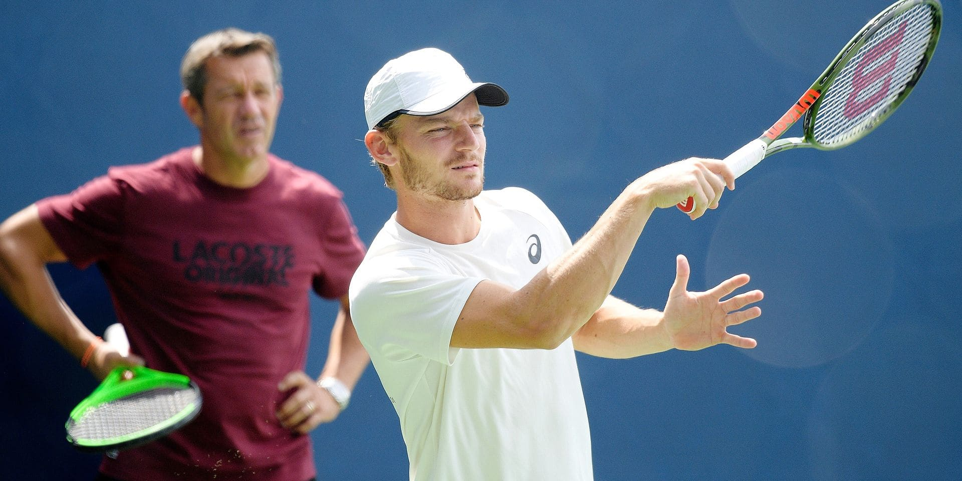 Goffin's coach Thierry Van Cleemput and Belgian David Goffin pictured during a training session ahead of the 118th US Open Grand Slam tennis tournament, at Flushing Meadow, in New York City, USA, Friday 24 August 2018. BELGA PHOTO YORICK JANSENS
