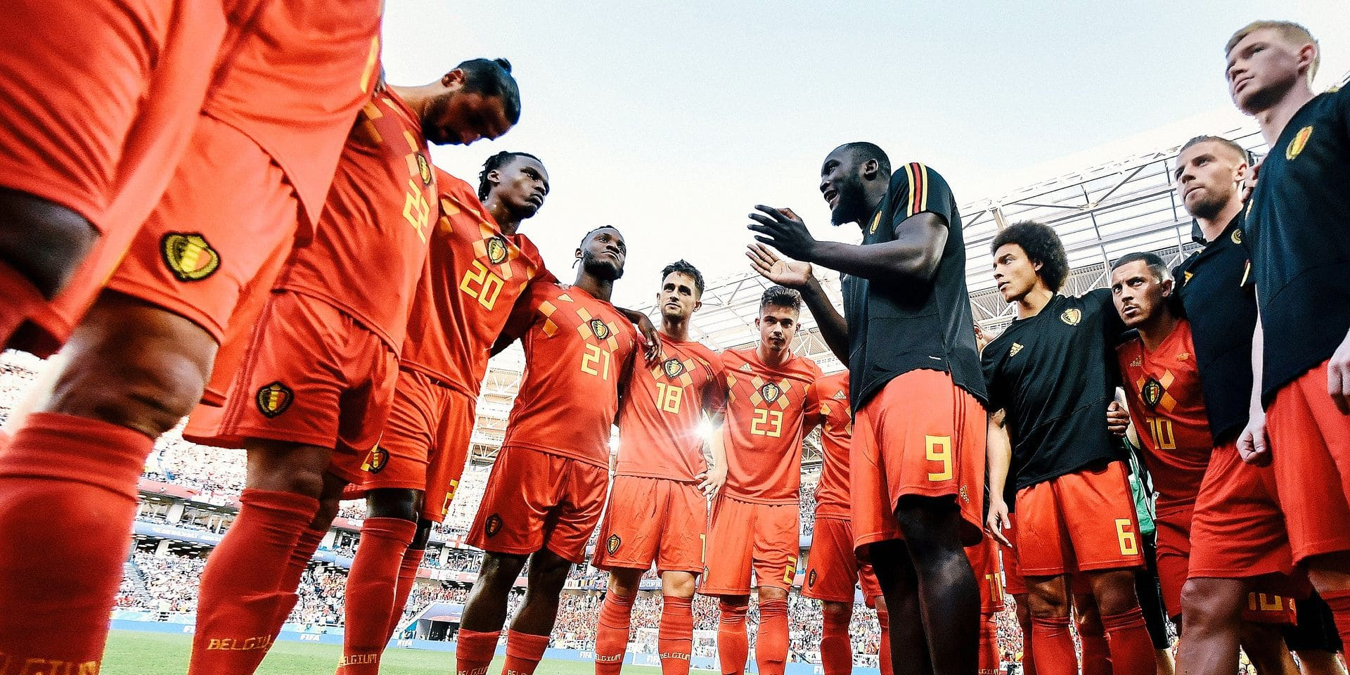 Belgium's Romelu Lukaku (C) gives a peptalk to his teammates before the start of a soccer game between Belgian national soccer team the Red Devils and England, Thursday 28 June 2018 in Kaliningrad, Russia, the third and last in Group G of the FIFA World Cup 2018. BELGA PHOTO DIRK WAEM