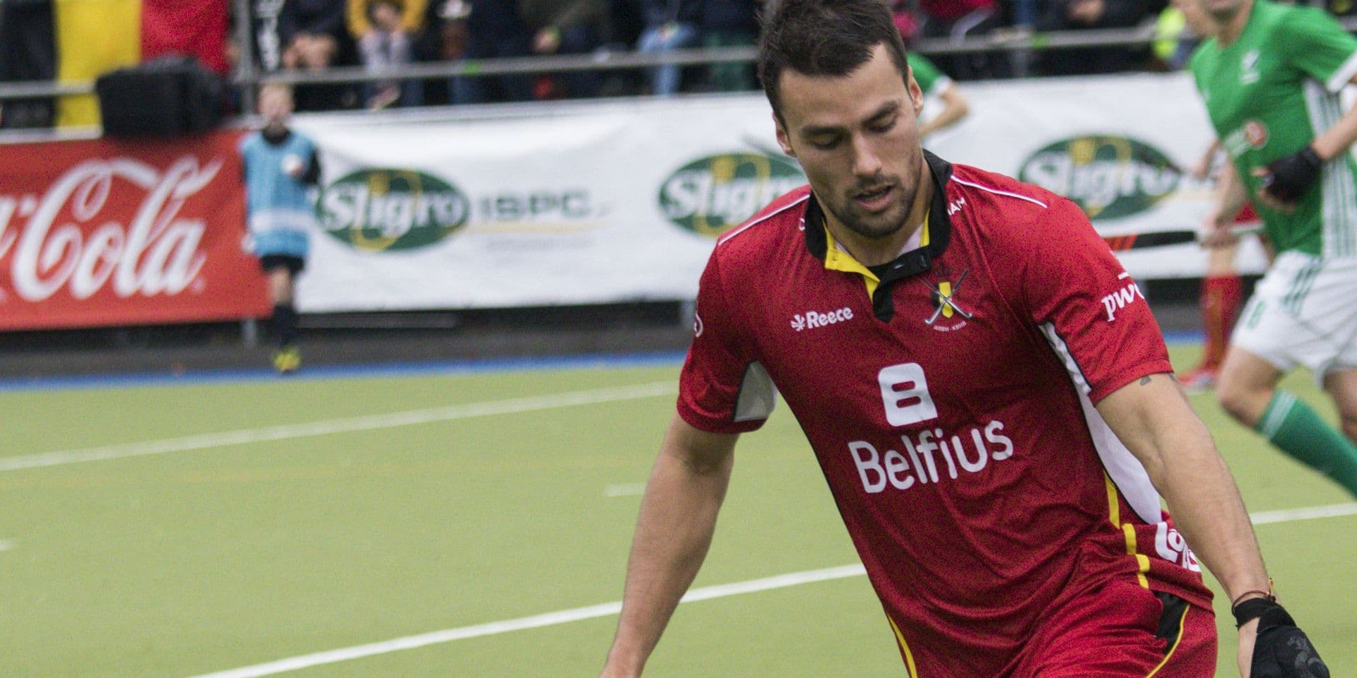 Belgium's Simon Gougnard pictured in action during a friendly hockey game between Belgian national hockey team the Red Lions and Ireland, Saturday 10 November 2018 in Brussels. BELGA PHOTO SEBASTIEN TECHY