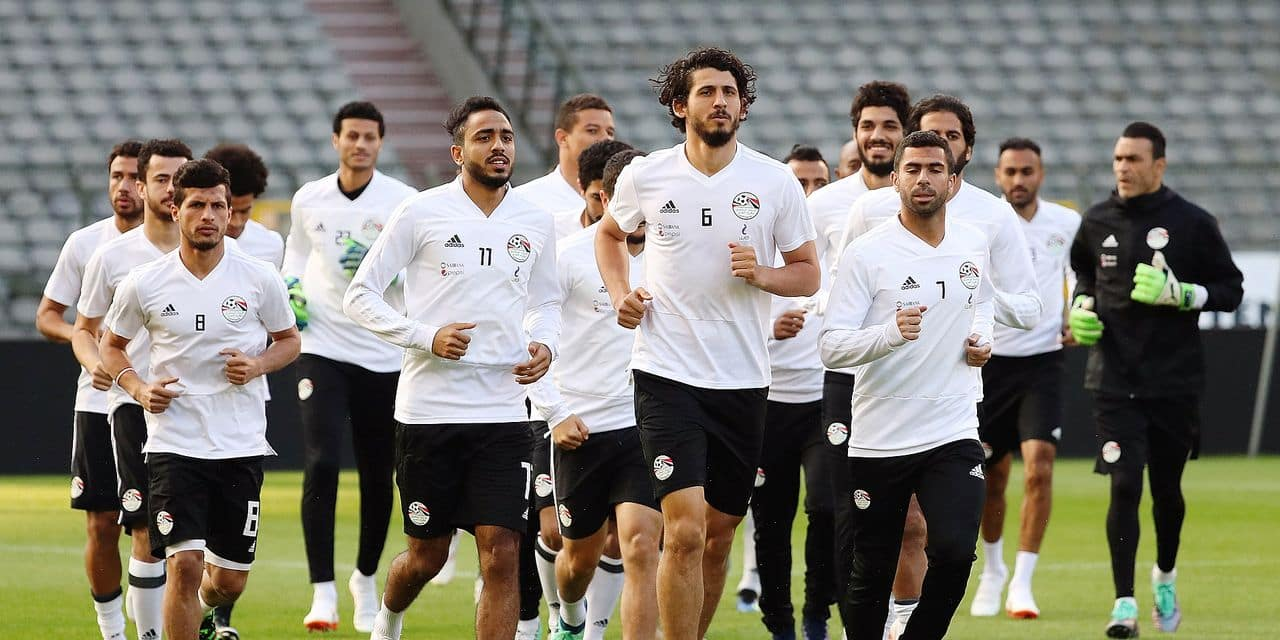 Egypt's players pictured during a training session of the Egyptian national soccer team, Tuesday 05 June 2018, in Brussels. Egypt will play on Wednesday a friendly game against the Belgian national soccer team Red Devils to prepare the upcoming FIFA World Cup 2018 in Russia. BELGA PHOTO VIRGINIE LEFOUR