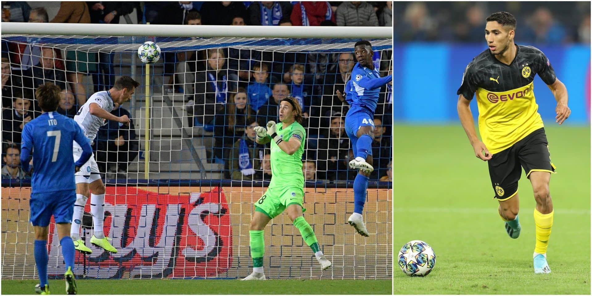 Le Racing Genk résiste face à Naples et Dries Mertens (0-0), Dortmund finit le travail avec un doublé d'Hakimi (0-2)