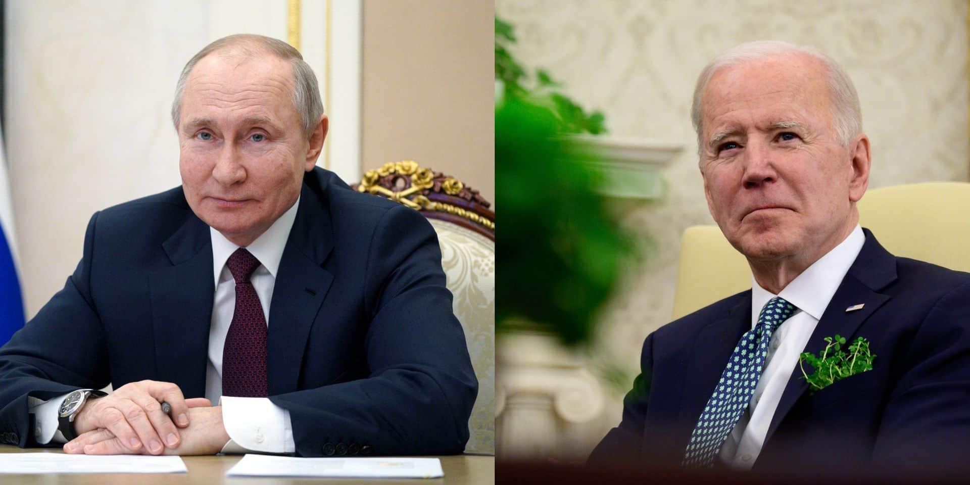 """Poutine propose à Biden une discussion diffusée """"en direct"""", Biden ne regrette pas de l'avoir qualifié de """"tueur"""""""