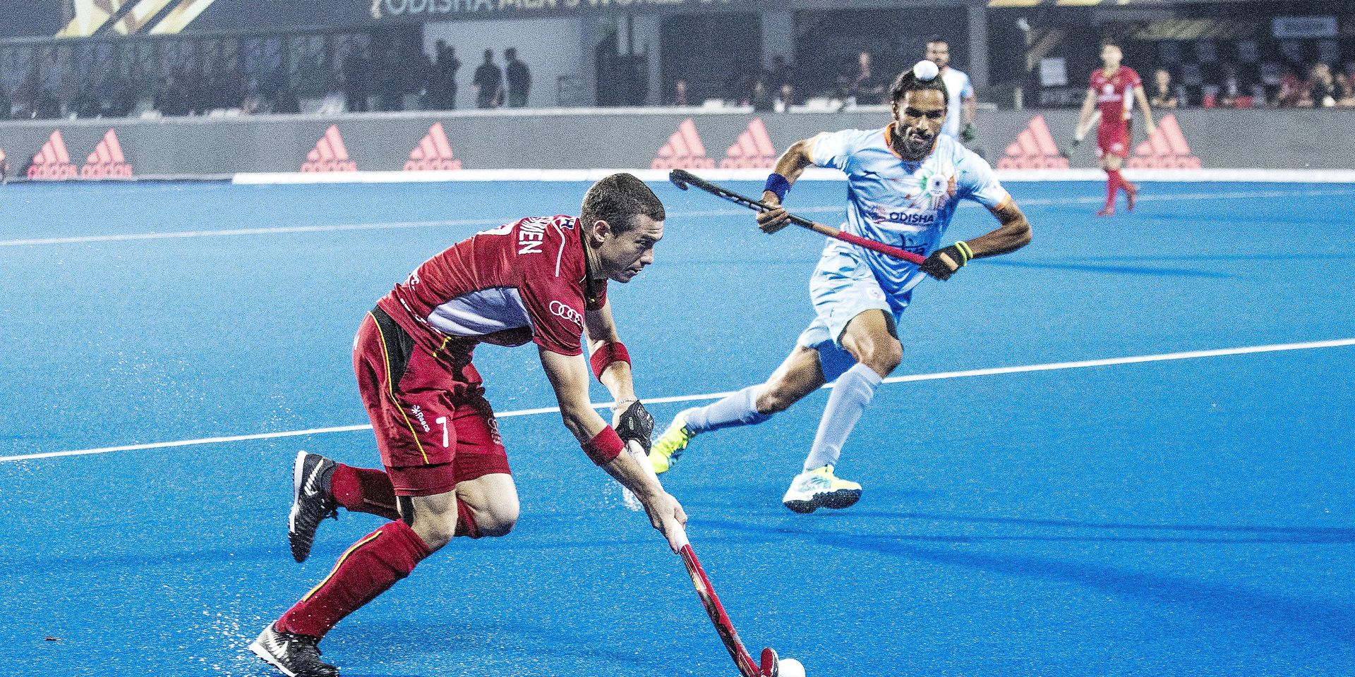 Belgium's John-John Dohmen (R) and India's Akashdeep Singh (L) pictured in action during a hockey game between Belgian national team the Red Lions and India, match 2/3 in group C in the first round of the World Cup, Sunday 02 December 2018 in the Kalinga Stadium in Bhubaneswar, India. BELGA PHOTO DANIEL TECHY