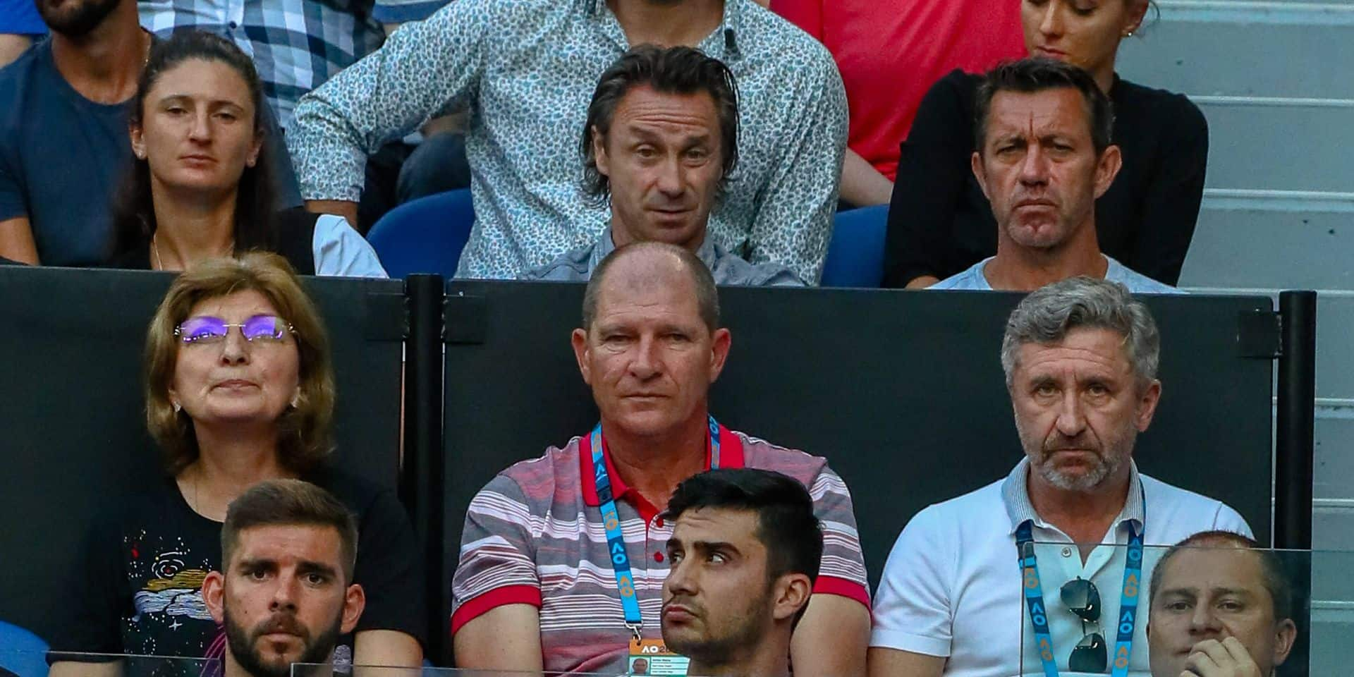 Goffin's former coach Thierry Van Cleemput (upper R) attends at the 'Australian Open' tennis Grand Slam, Monday 21 January 2019 in Melbourne Park, Melbourne, Australia. This first grand slam of the season will be taking place from 14 to 27 January. BELGA PHOTO PATRICK HAMILTON