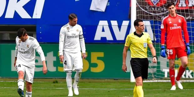 Liga: le Real et Courtois rechutent lourdement à Eibar (3-0), Ramos dans la tourmente - La Libre