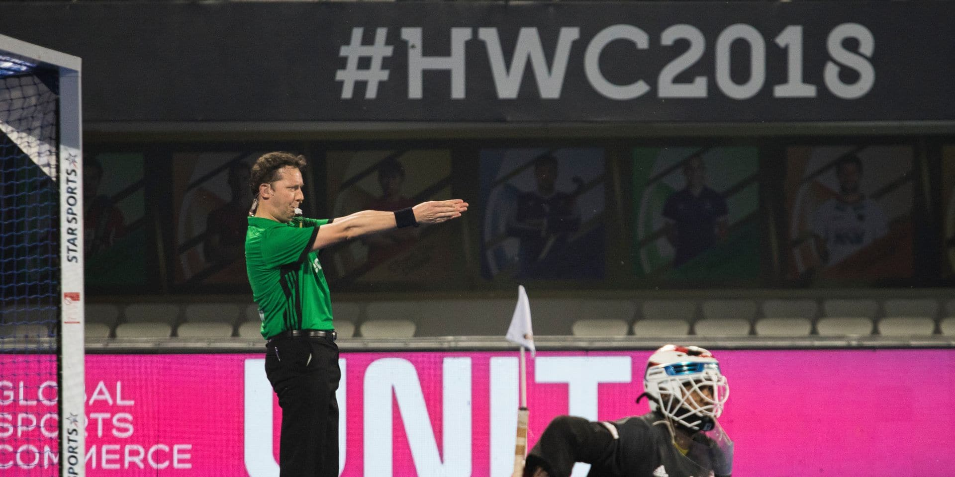 """Belgian referee Gregory Uyttenhove in action during the Hockey World Cup, in Bhubaneswar, India. on the picture regarding the Belga article """"L'Allemagne vainqueur du choc contre les Pays-Bas, partage entre le Pakistan et la Malaisie"""", 05/12/2018 17:10, in BRUSSELS. BEST QUALITY AVAILABLE - BELGA PHOTO DANIEL TECHY"""