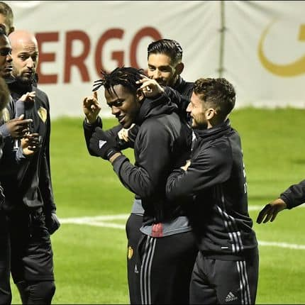 TUBIZE, BELGIUM - MARCH 24 : Dries Mertens forward of Belgium,Youri Tielemans midfielder of Belgium,Yannick Carrasco forward of Belgium,Laurent Ciman defender of Belgium and Dedryck Boyata defender of Belgium pictured during a Red Devils training session in the Belgian Football Center in Tubize on March 24, 2017 in Tubize, Belgium , 24/03/17 ( Photo by Johan Eyckens / Photonews PICTURES NOT INCLUDED IN THE CONTRACTS