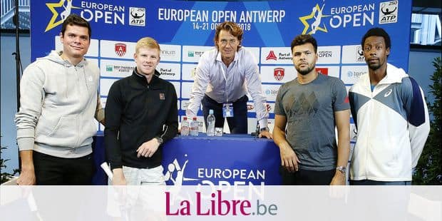 15/10/2018 - Antwerpen - European Open 2018 - Press conference with Milos RAONIC - Kyle EDMUND - Dick NORMAN (Tournament Director) - Gael MONFILS - Jo-Wilfried TSONGA ©Ph. BUISSIN / IMAGELLAN