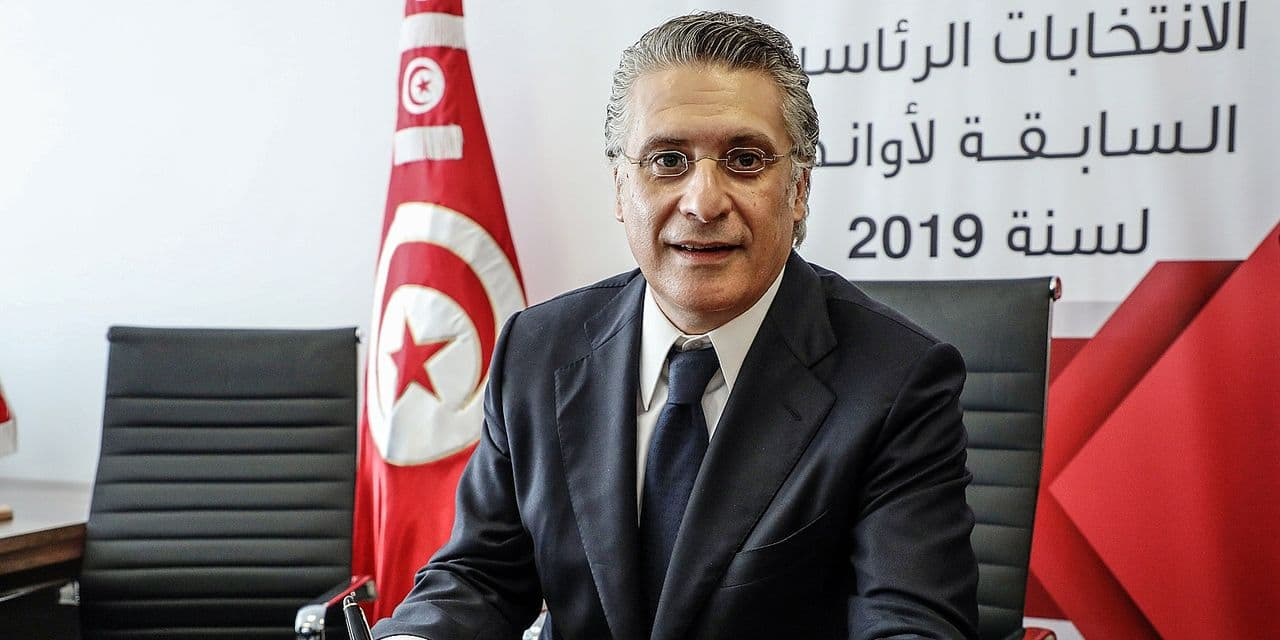 02 August 2019, Tunisia, Tunis: Tunisian media magnate and presidential hopeful Nabil Karoui submits his candidacy at the Tunisia Electoral Commission ahead of the 2019 Tunisian presidential election, scheduled to take place on 15 September 2019. The elections were originally planned to take place on 17 and 24 November prior to the death of President Beji Caid Essebsi on 25 July 2019. Photo: Khaled Nasraoui/dpa Reporters / DPA