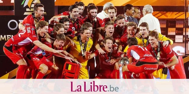 Belgium Red Lions celebrates after winning the world cup the final game between Belgian national hockey team the Red Lions and The Netherlands in Bhubaneswar, India, at the hockey World Cup, Sunday 16 December 2018. BELGA PHOTO SEBASTIEN TECHY