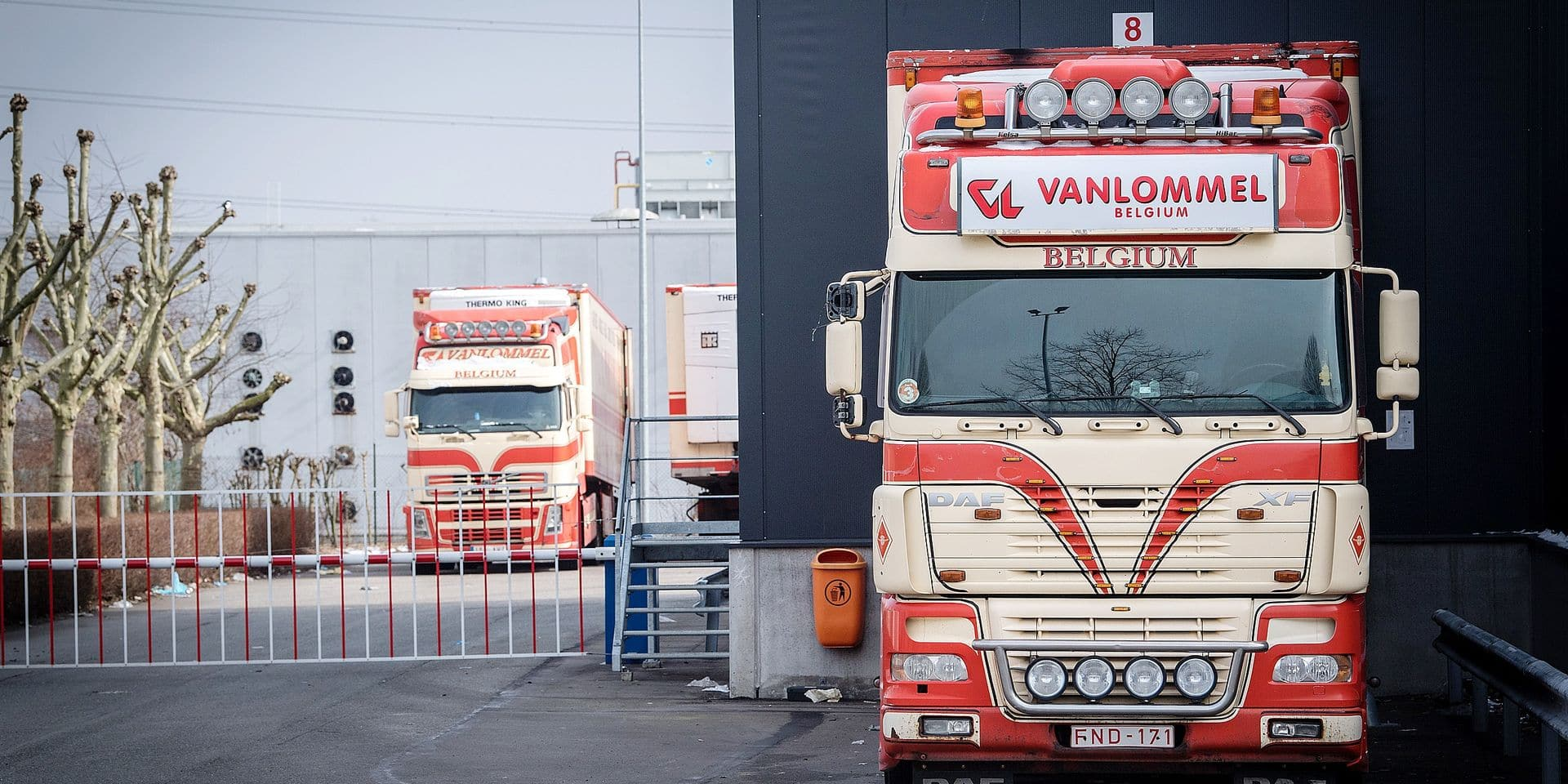Illustration picture shows trucks at the slaughterhouse Vanlommel in Olen, Sunday 18 March 2018. A new meat scandal broke out after media revealed that a party of veal meat with expired date from Vanlommel was intercepted at the border of Kosovo in August 2017 BELGA PHOTO LUC CLAESSEN