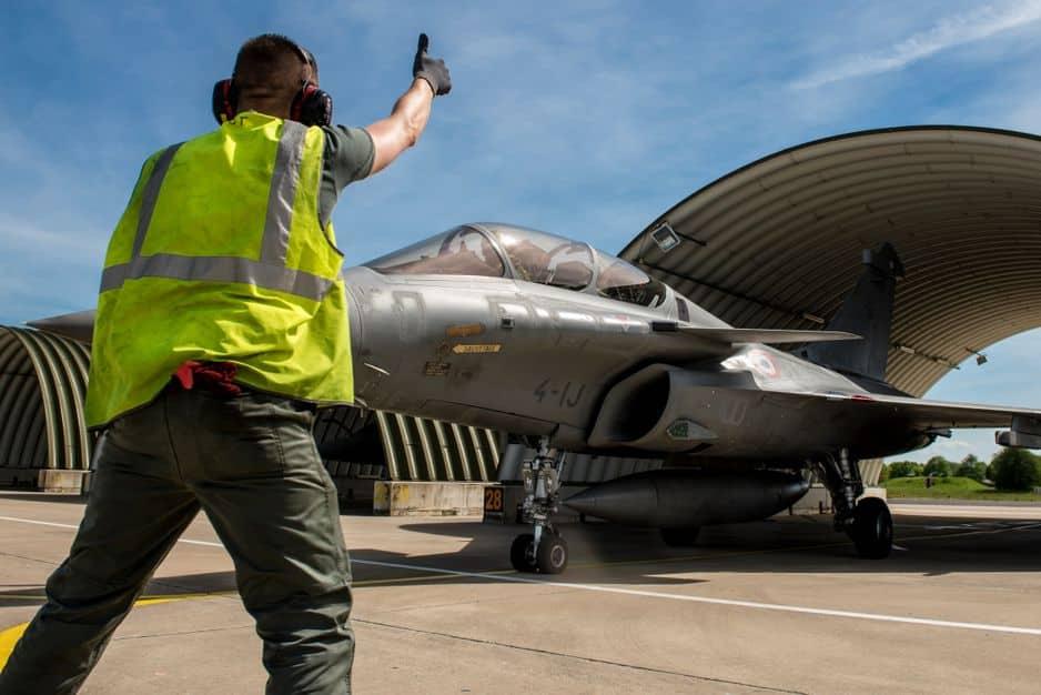 Opération Chammal au Levant. Rafale armé sur la base aérienne projetée en Jordanie.