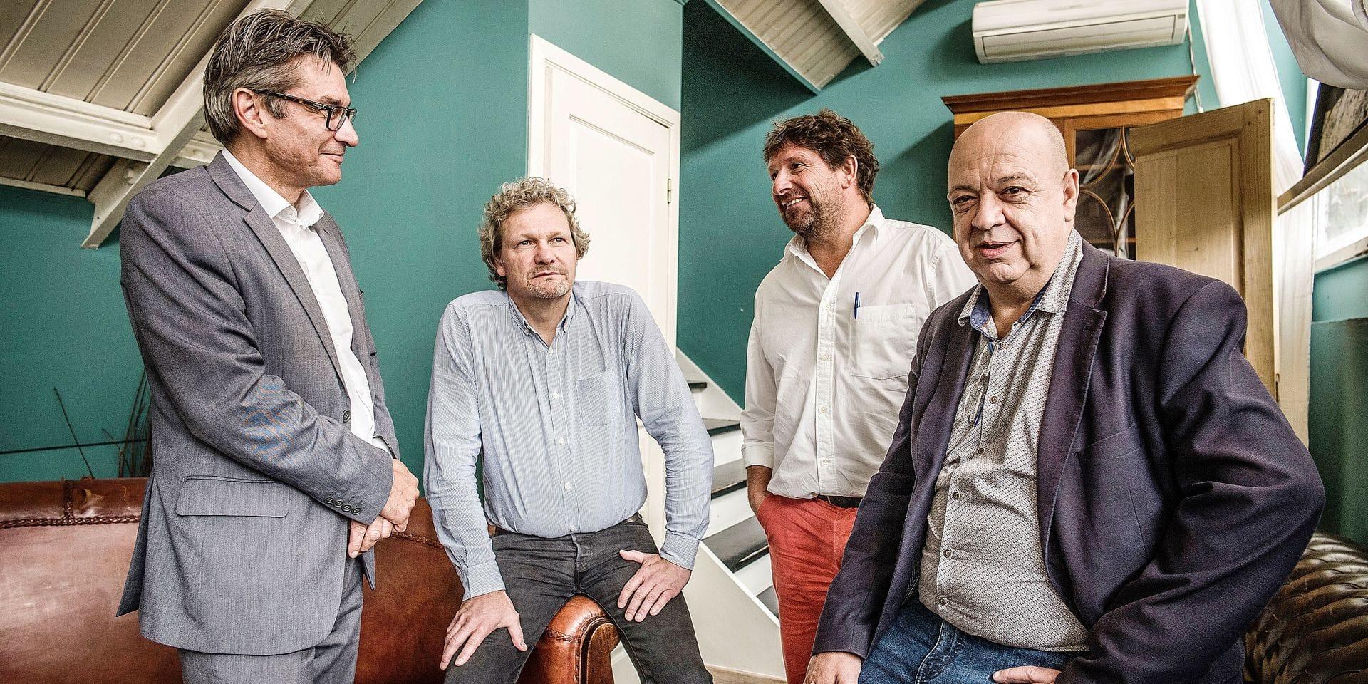 20170619 - BELGIQUE, BRUXELLES: Portrait de Stephane Emmanuelidis, Thierry Bodson (FGTB), Dominique Van De Sype (employeur, UNIPSO) et Marc Becker (CSC), le 19 juin 2018. PHOTO OLIVIER PAPEGNIES / COLLECTIF HUMA
