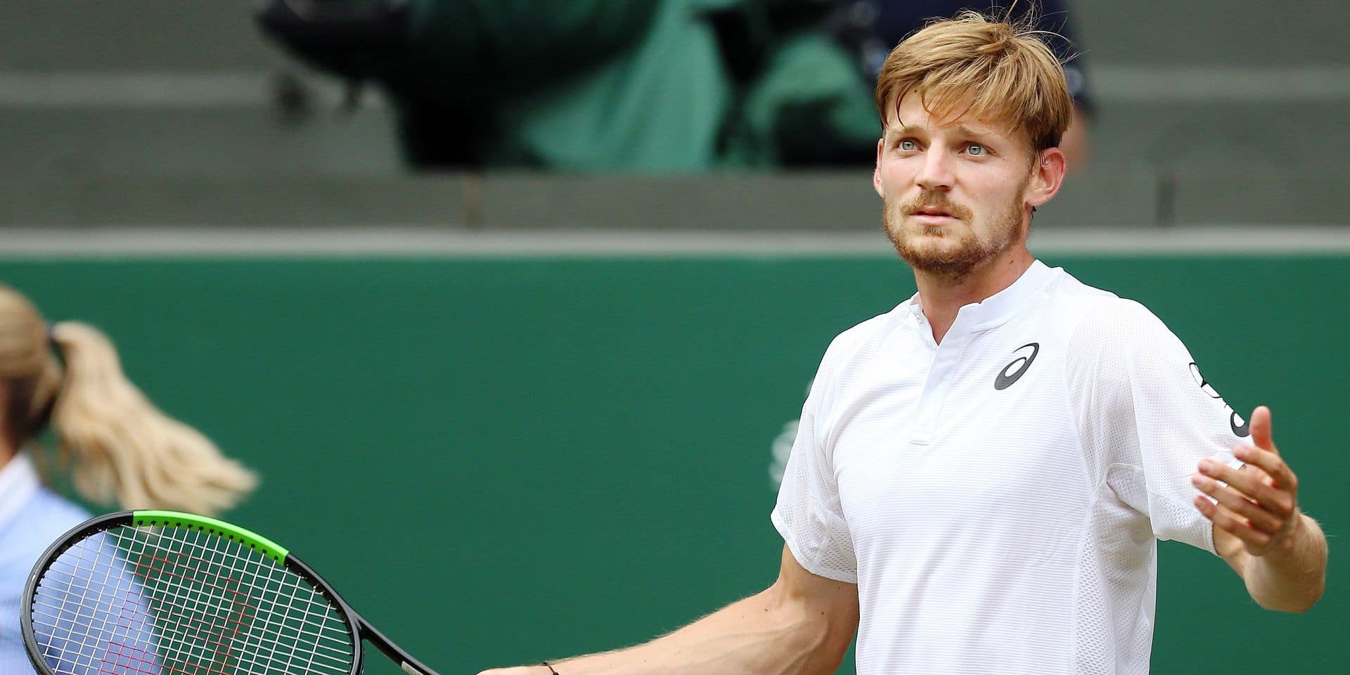 Belgian David Goffin (ATP 23) looks dejected during during a tennis match against Serbian Novak Djokovic (ATP 1) in the men's singles quarter-finals at the 2019 Wimbledon grand slam tennis tournament at the All England Tennis Club, in south-west London, Britain, Wednesday 10 July 2019. BELGA PHOTO BENOIT DOPPAGNE