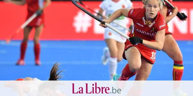 Belgium's Louise Versavel (R) pictured in action during the game between Spain and Belgium in the cross over at the Hockey Women's World Cup, in London, UK, Monday 30 July 2018. The Hockey Women's World Cup takes place from 21 July to 05 August at the Lee Valley Hockey Centre in London. BELGA PHOTO BENOIT DOPPAGNE