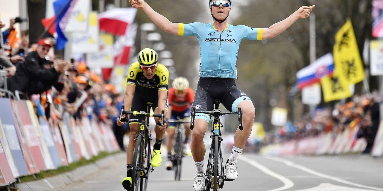 Danish Michael Valgren Andersen of Astana Pro Team celebrates as he crosses the finish line to win the 'Amstel Gold Race' one day cycling race, 263 km from Maastricht to Valkenburg, The Netherlands, Sunday 15 April 2018. BELGA PHOTO ERIC LALMAND