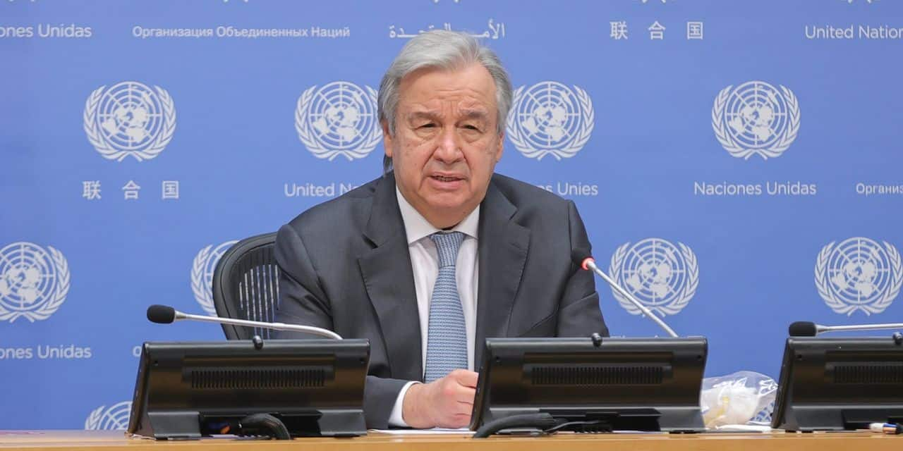 Le secrétaire général de l'ONU, Antonio Guterres, s'est exprimé au cours d'une conférence de presse ce lundi.