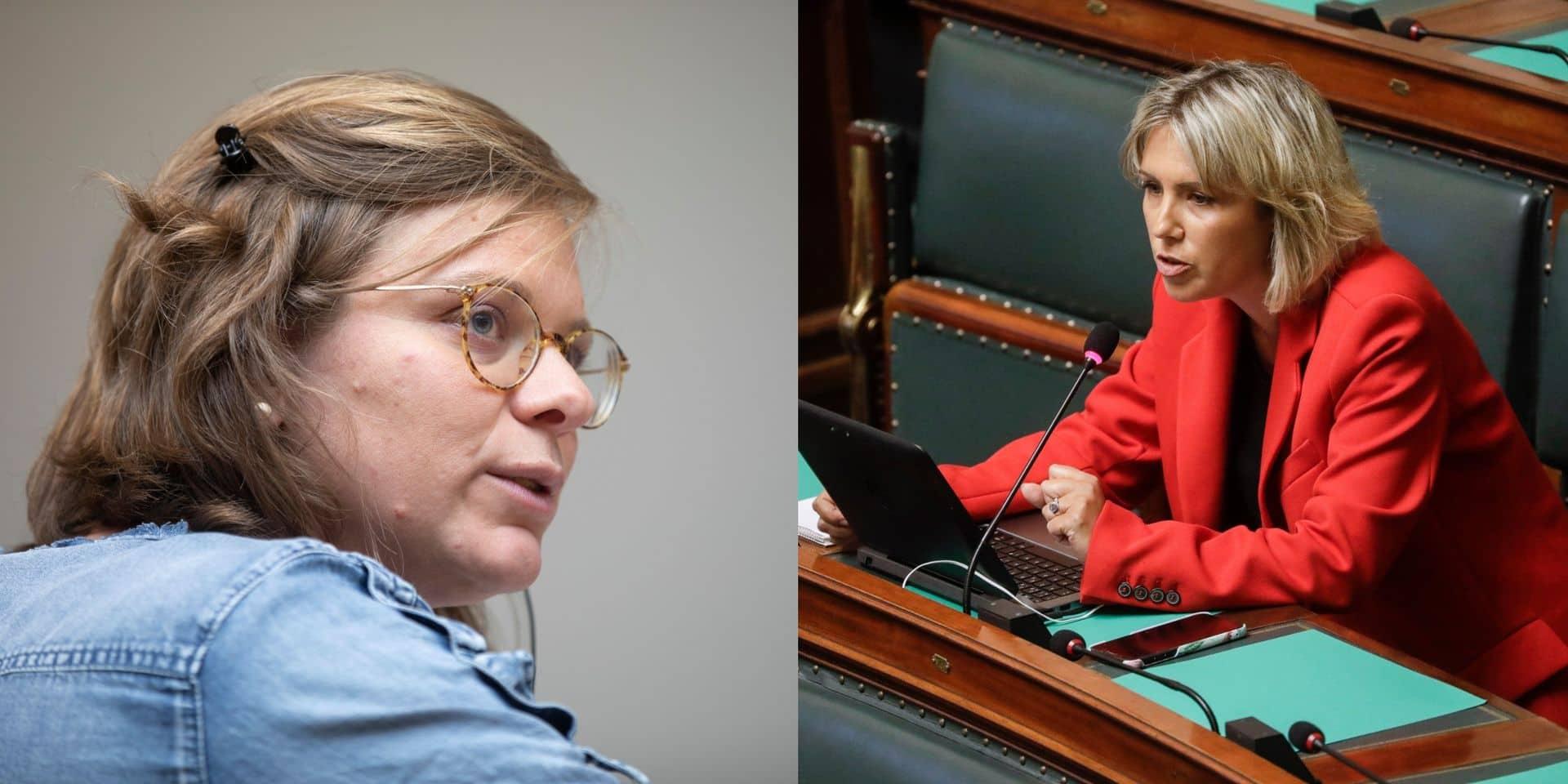 Marie-Colline Leroy (présidente de la commission affaires sociales, Ecolo) et Ludivine Dedonder (députée fédérale PS).