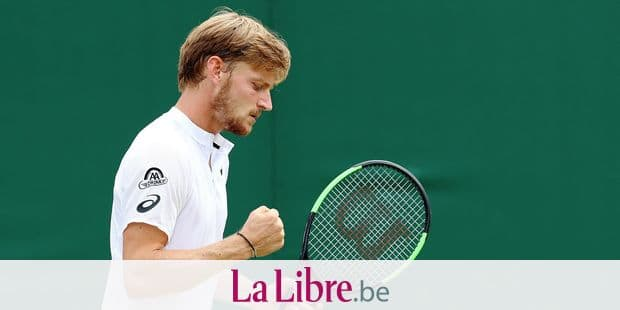 CAPTION CORRECTION: refiling with correct caption - Belgian David Goffin pumps his fist during a tennis match between Belgian David Goffin (ATP23) and Spanish Fernando Verdasco (ATP37) in the men's singles fourth round at the 2019 Wimbledon grand slam tennis tournament at the All England Tennis Club, in south-west London, Britain, Monday 08 July 2019. BELGA PHOTO BENOIT DOPPAGNE